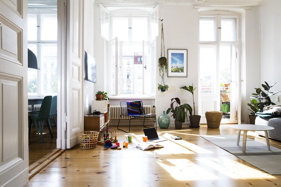 family room with toys scattered about