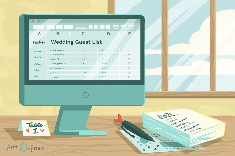 Ilustración de plantillas de lista de invitados de boda