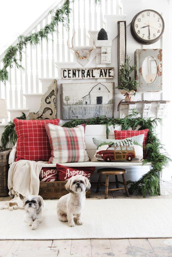 A rustic Christmas living room