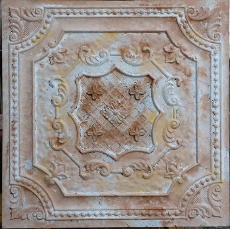 Pl04 Faux Tin Finish Decorative Fancy Design Distressed Ceiling Tiles Emboss Coffee Pub Rustic Wall