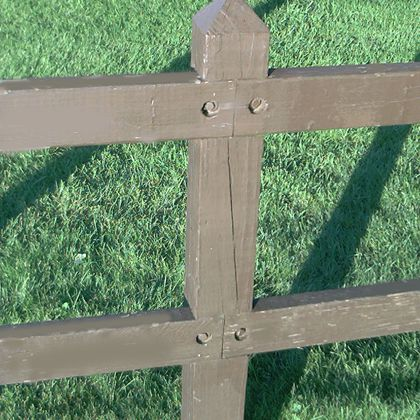 This utility fence is nothing special to look at, but its sturdiness serves a purpose.
