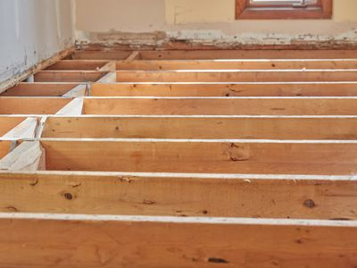 Wooden joists in renovated staircase