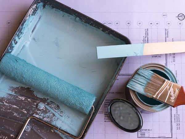 paint roller and brush