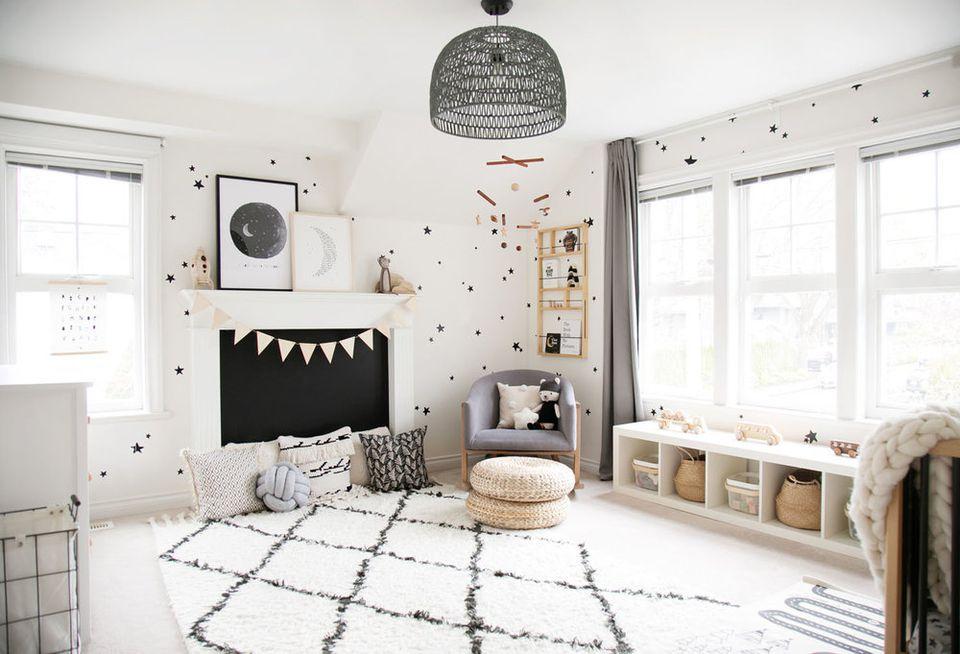 Gender-neutral, monochrome kids room