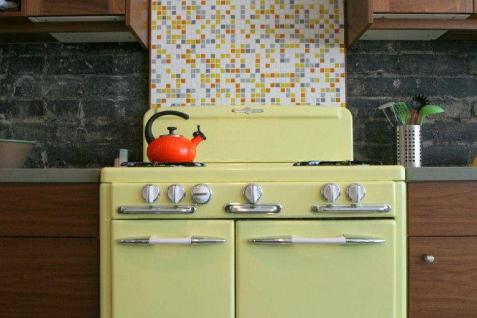 Colourful ceramic tile backsplash for modern kitchen