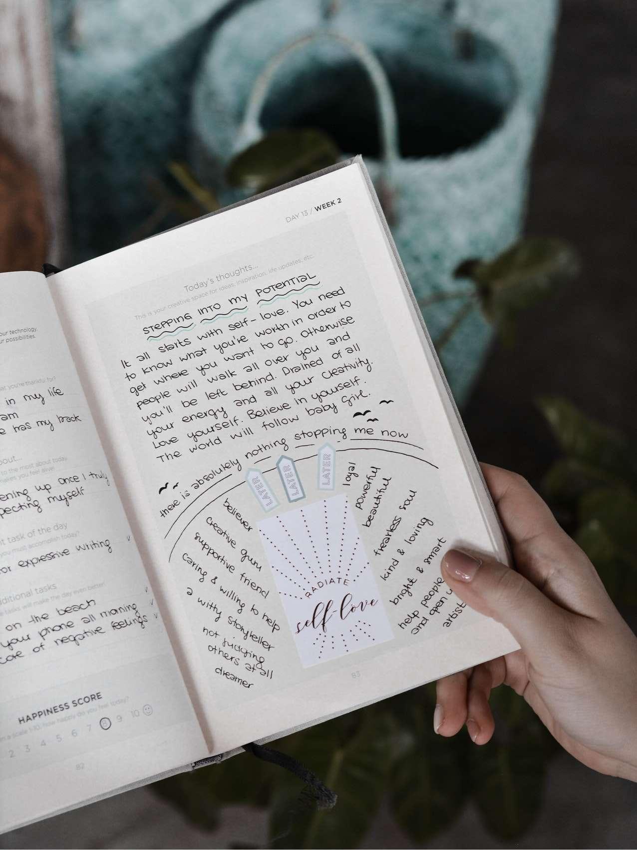 bullet journal self love idea