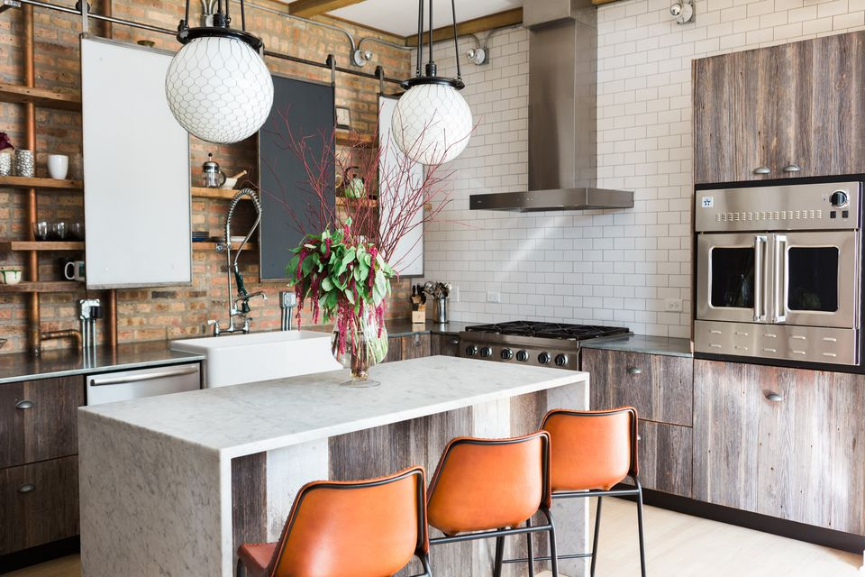 modern industrial kitchen with natural wood