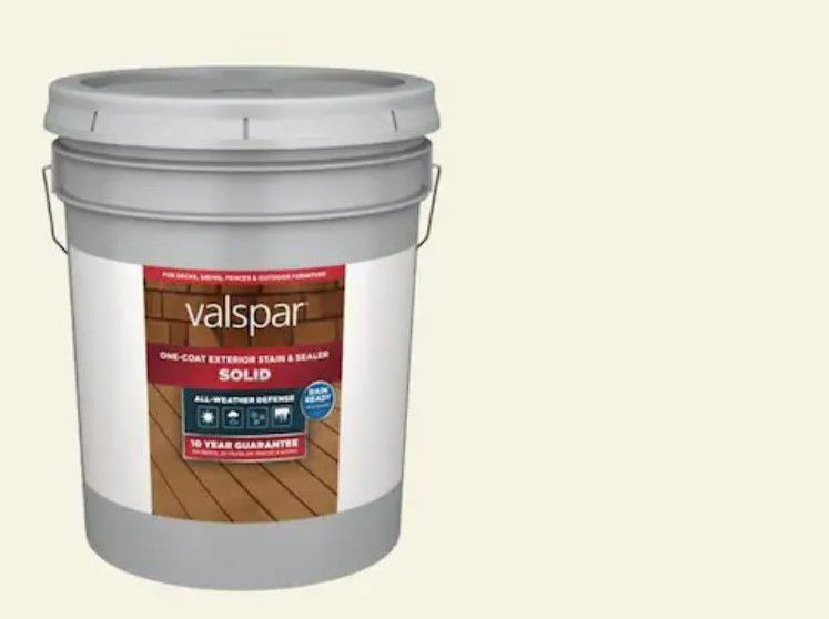 Valspar All-weather White Solid Exterior Wood Stain and Sealer, 5-Gallon
