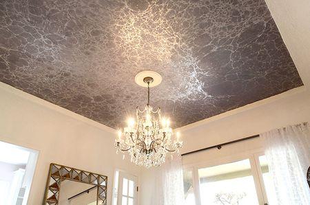 Black Marble Wallpapered Ceiling Mr Kate