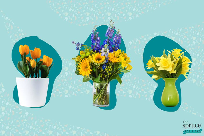 Photo composite of orange tulips in a planter, a sunflower bouquet and a daffodil bouquet in vases.