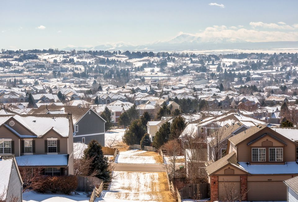Centennial, Colorado - Denver Metro Area Residential Winter Panorama with the view of a Front Range mountains on the distance