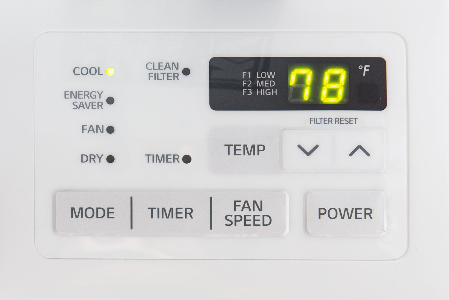 Air conditioner set to 78 degrees
