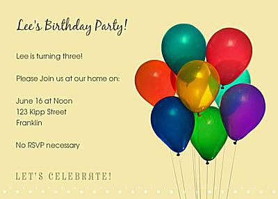 Free birthday invitations online colorful group of balloons on a yellow birthday party invitation filmwisefo