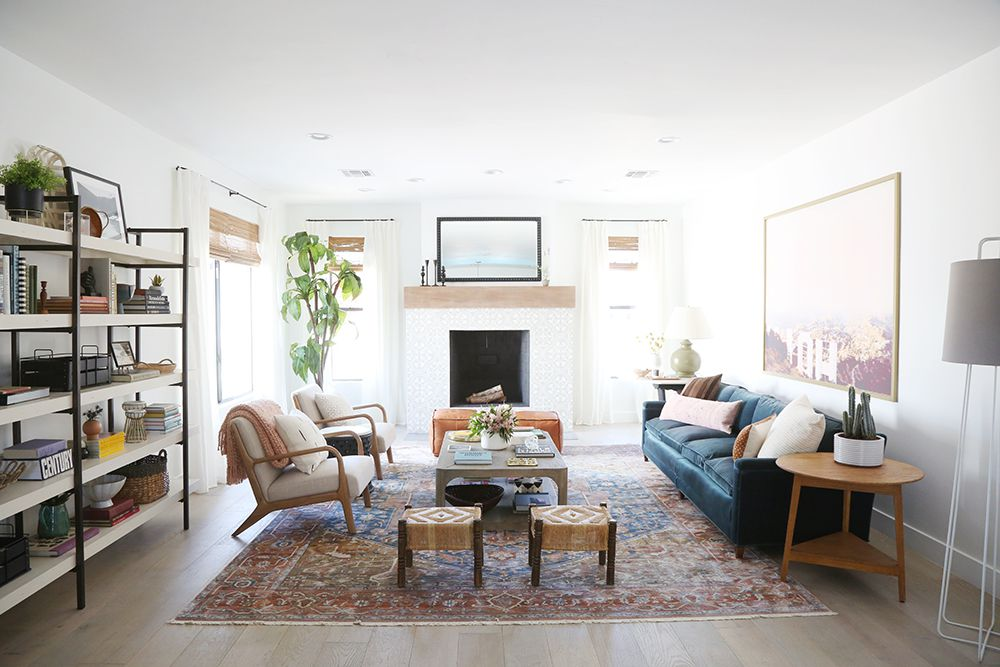 Living room with bright white paint