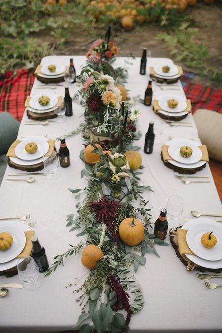 Calabaza y Greenery Garland Centro de mesa de boda de otoño