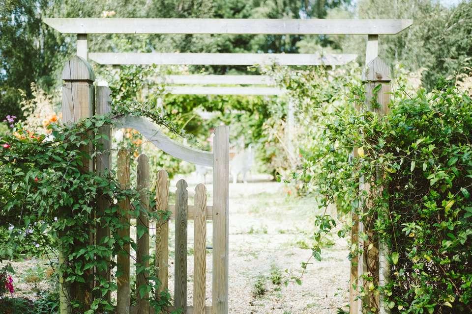 A sunny garden entrance
