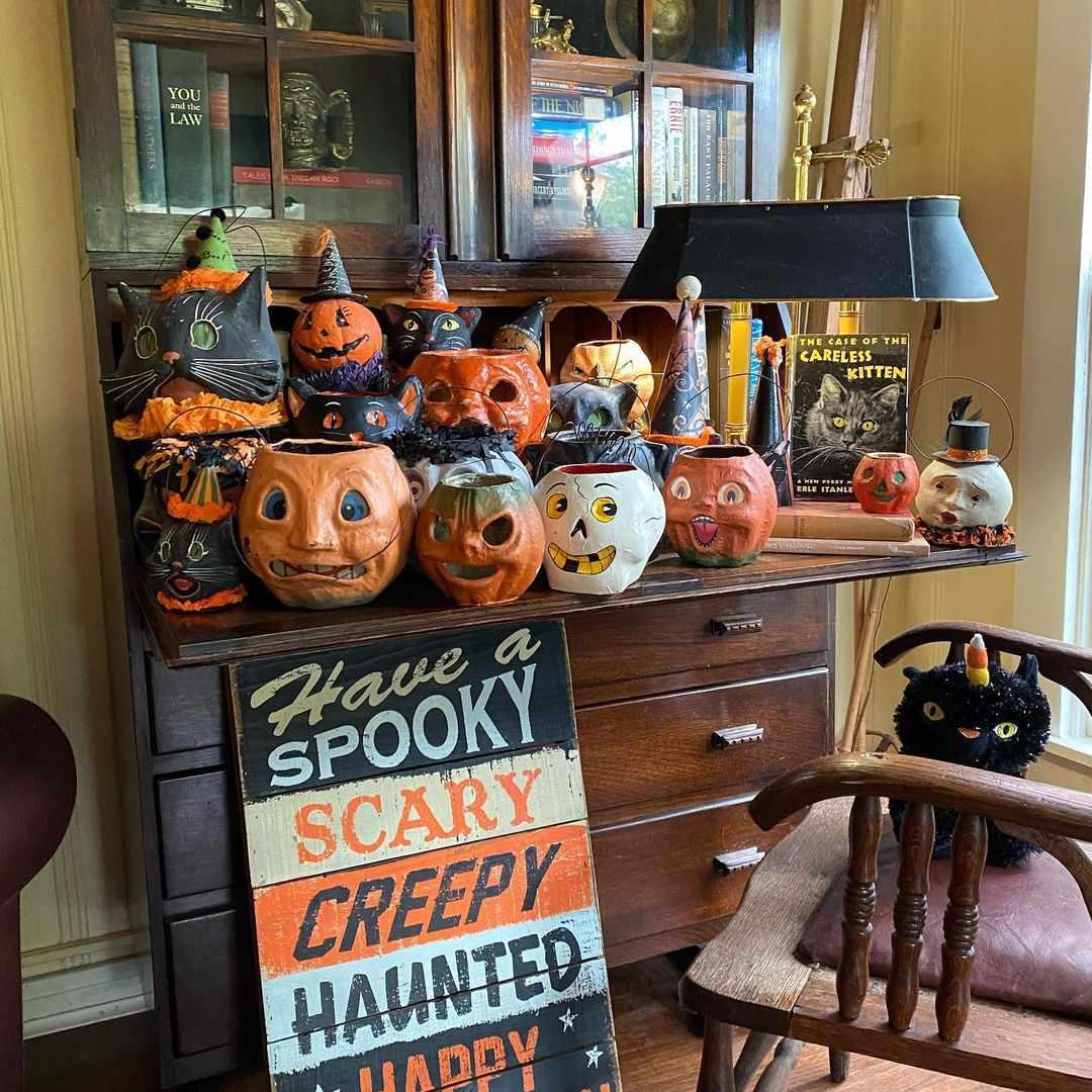 Papier-mache retro Halloween decor.