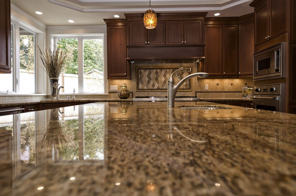 A quartz countertop in a kitchen