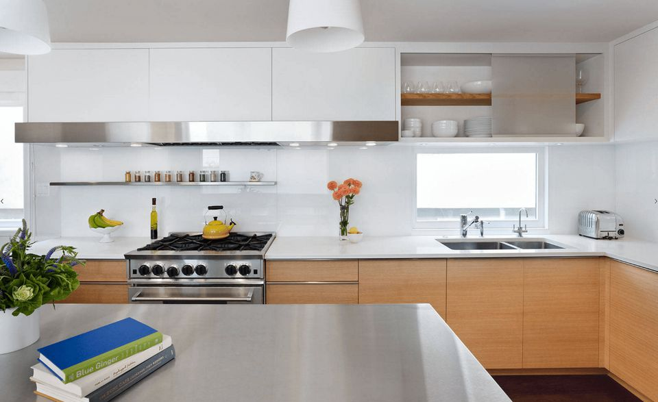 Solid surface counters in contemporary kitchen