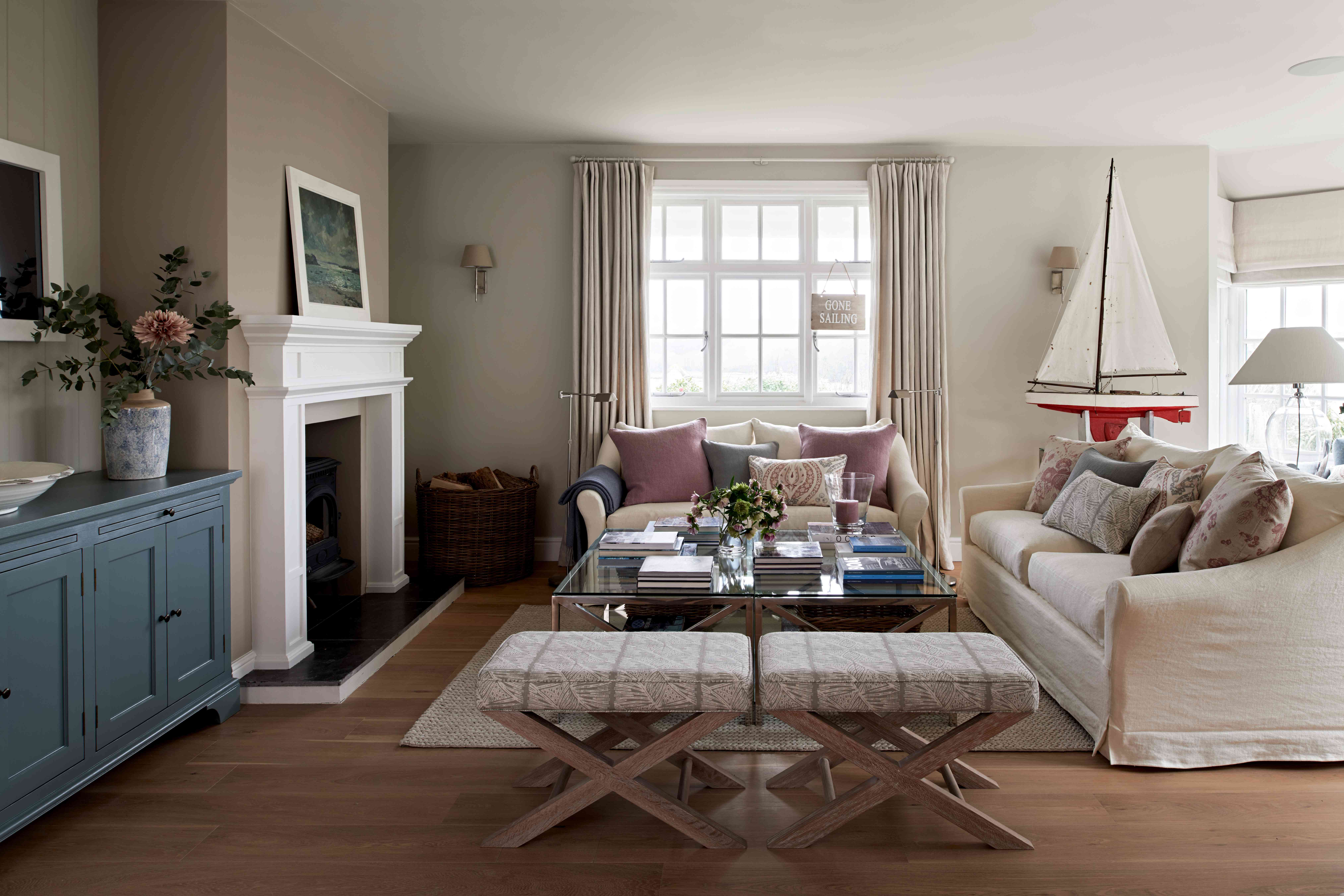 Emma Sims-Hilditch's living room in her Cornwall cottage