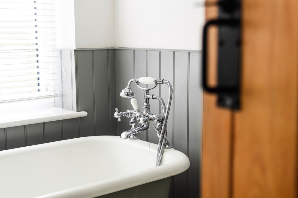 View of tub in a bathroom