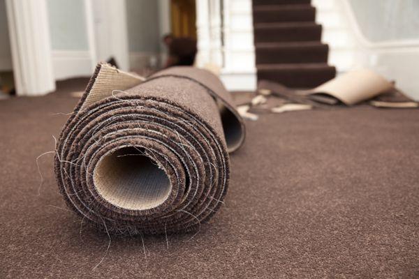 Carpet Roll in a Basement