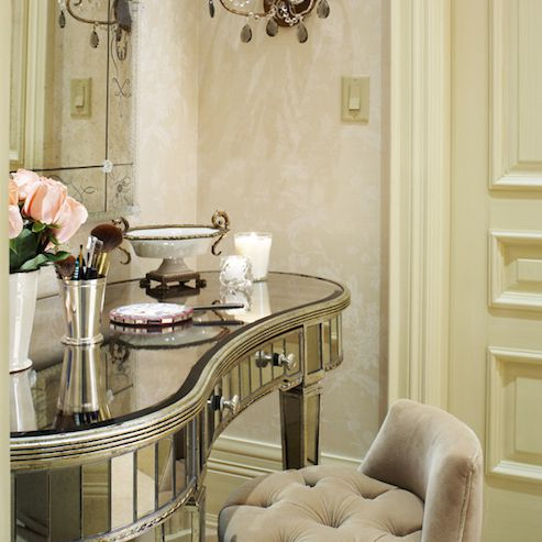 glamorous mirrored bathroom vanity