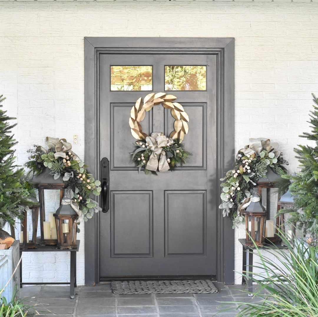 Gray door with gold wreath
