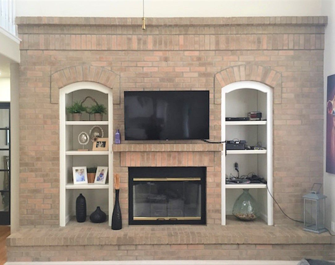 Fireplace Peach Eradication Makeover Before