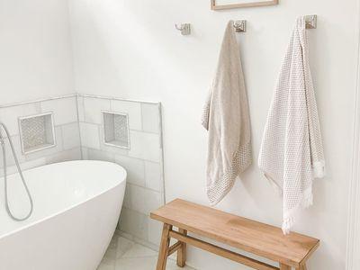 Bathroom with a deep soaking tub