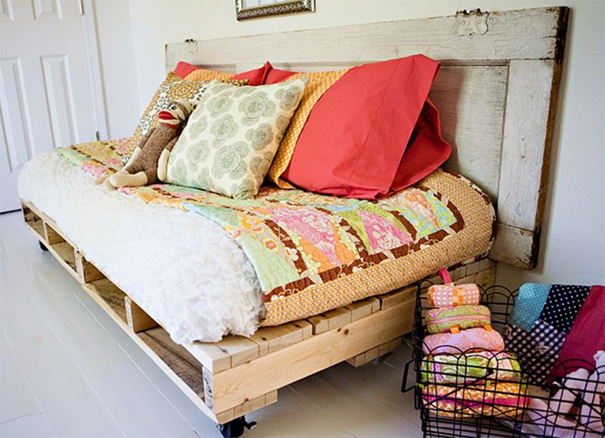 A reading bed made out of pallets