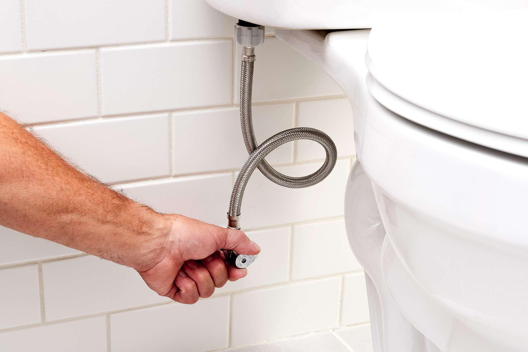 Toilet water shut off by turning handle on shutoff valve