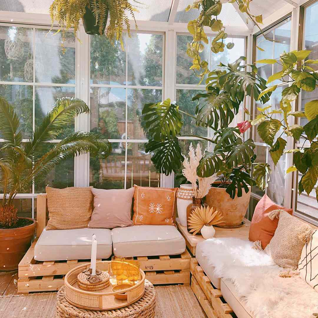 Glassed in living room with plants