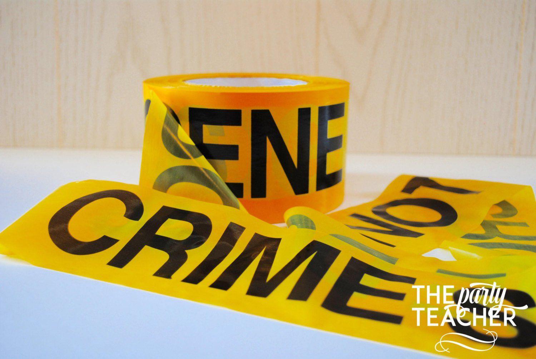 Crime scene tape on a table