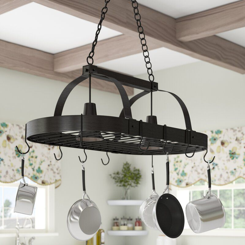 2 Light Kitchen Hanging Pot Rack