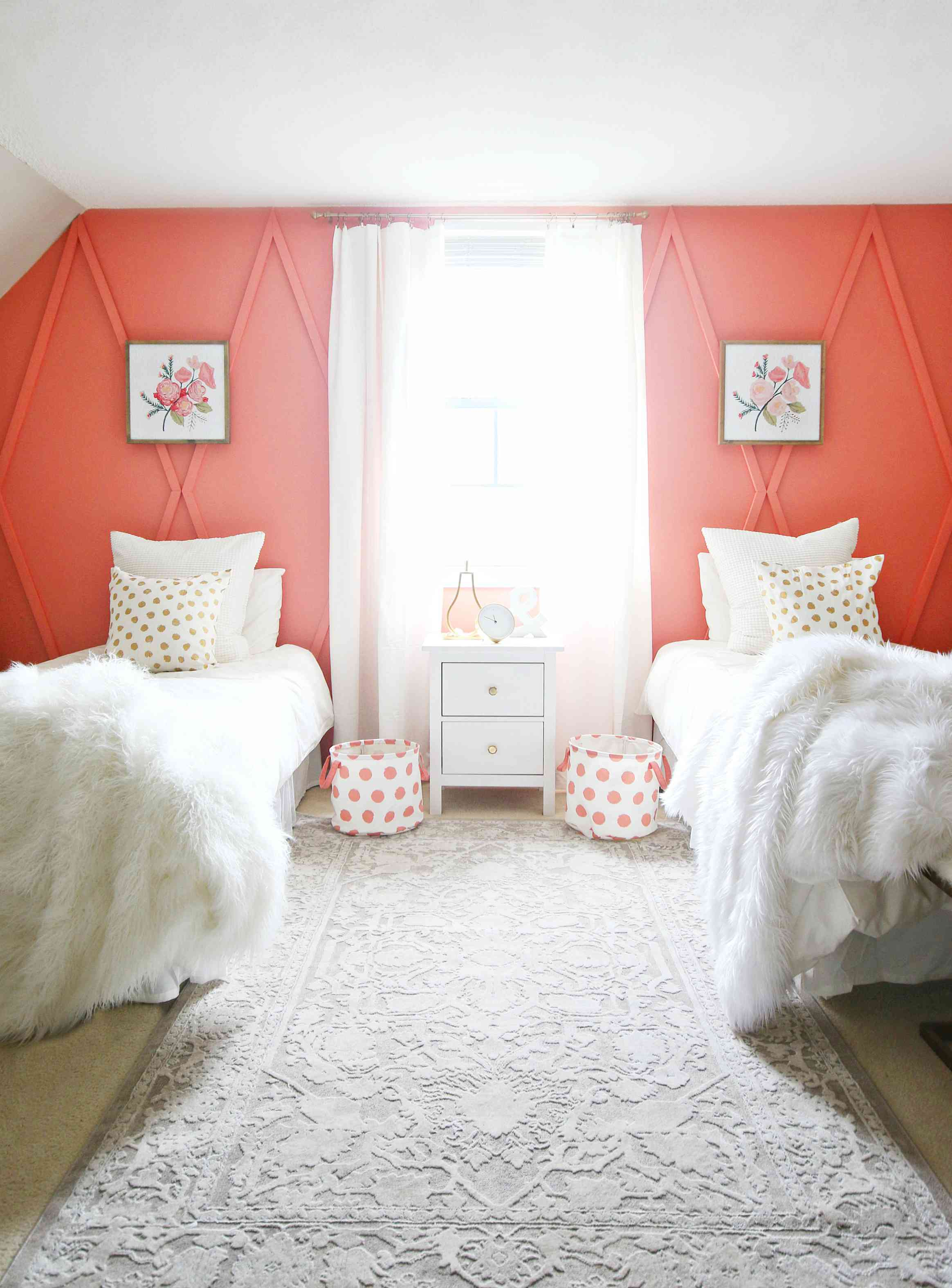 coral wall in girls bedroom