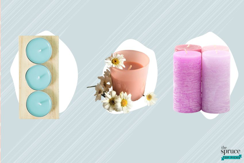 Photo composite of three different candles over a white spot and a blue background.