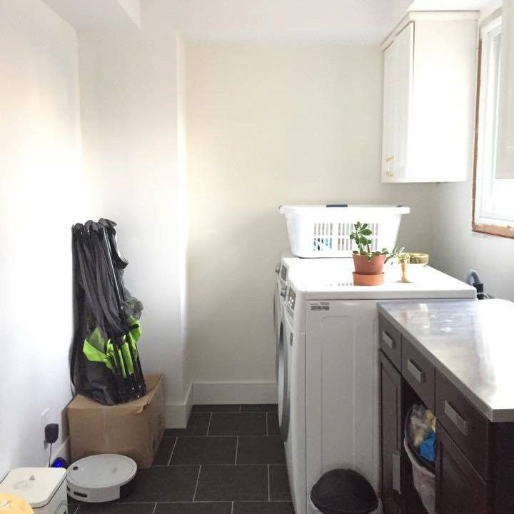Laundry room before makeover.