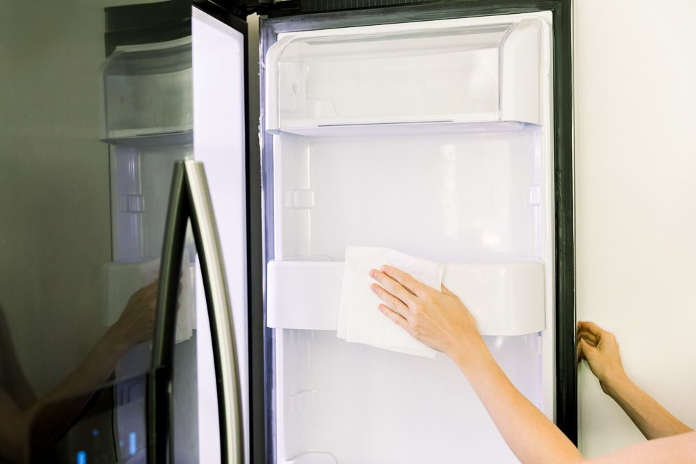 Sanitize refrigerator with hydrogen peroxide