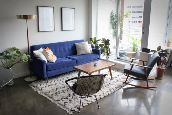 Contemporary apartment with mid-century furniture.