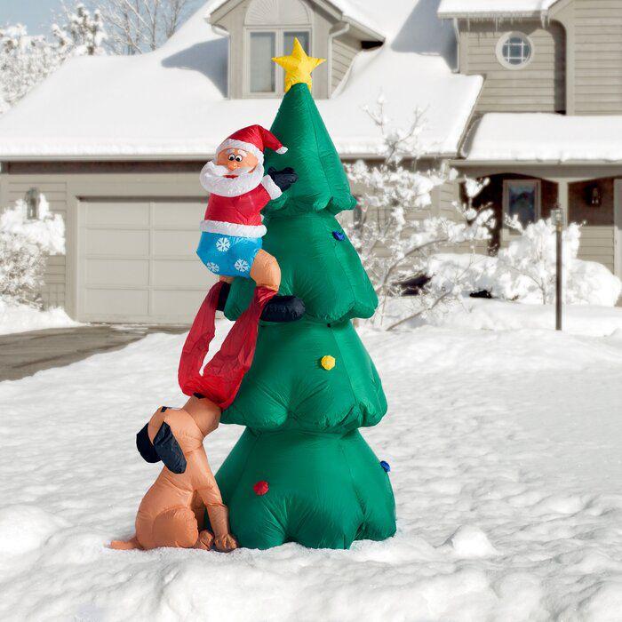 Santa Climbing on Christmas Tree Inflatable