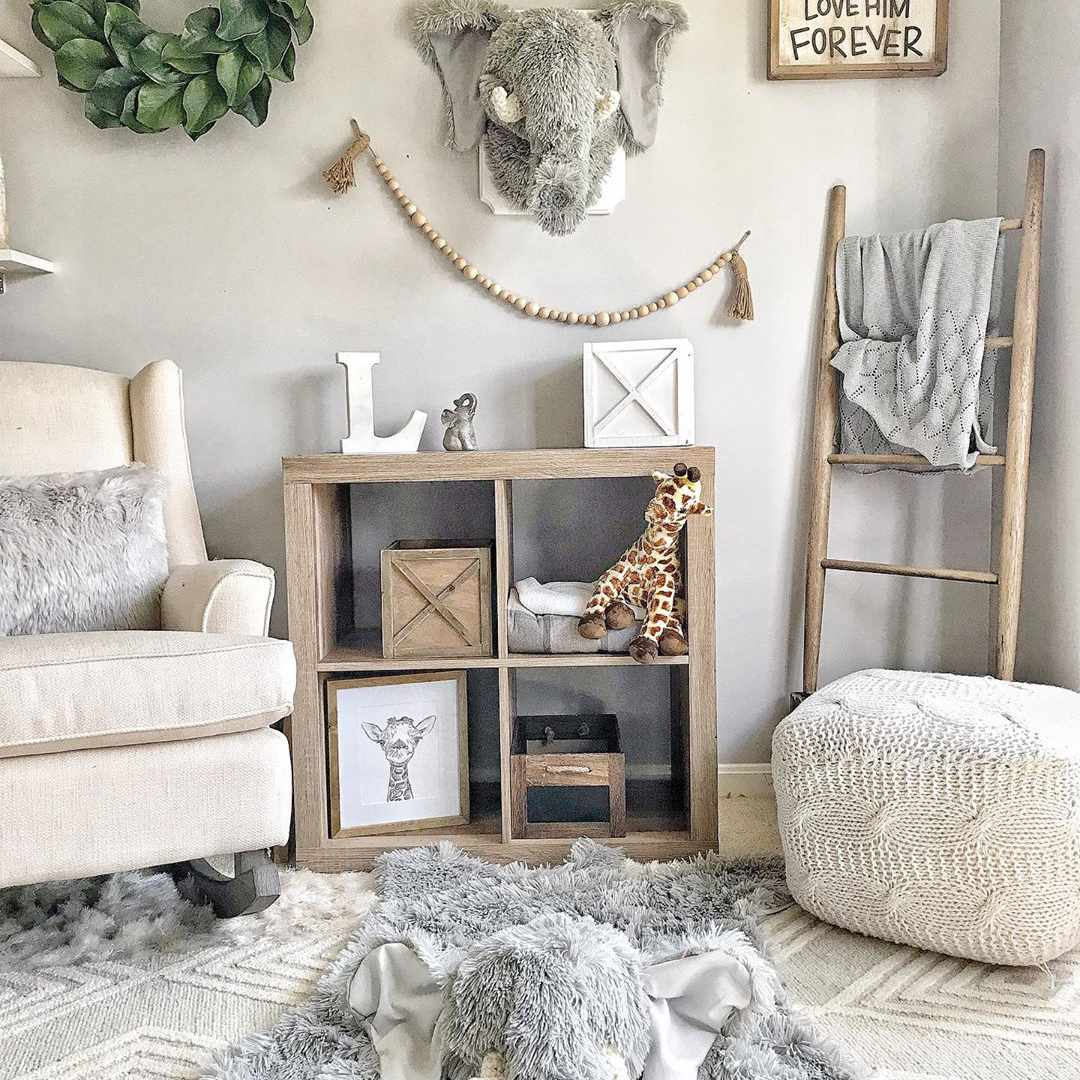 Neutral gray and white nursery with soft textural details
