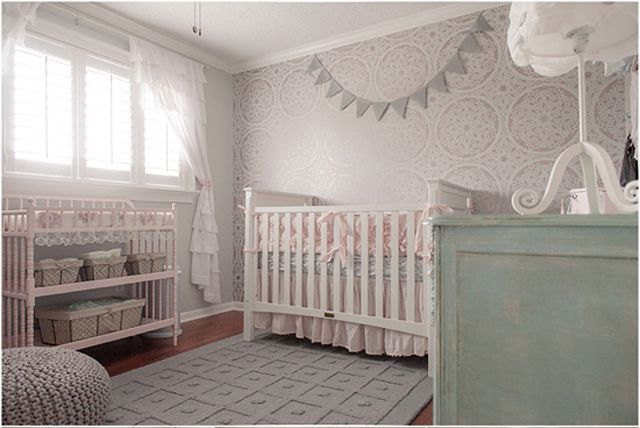 Mismatched furniture coordinated using color in a sweet Shabby Chic nursery