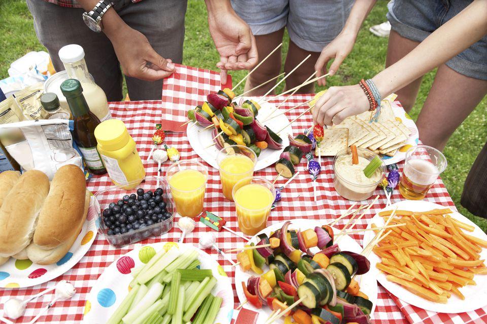 Food at a summer picnic