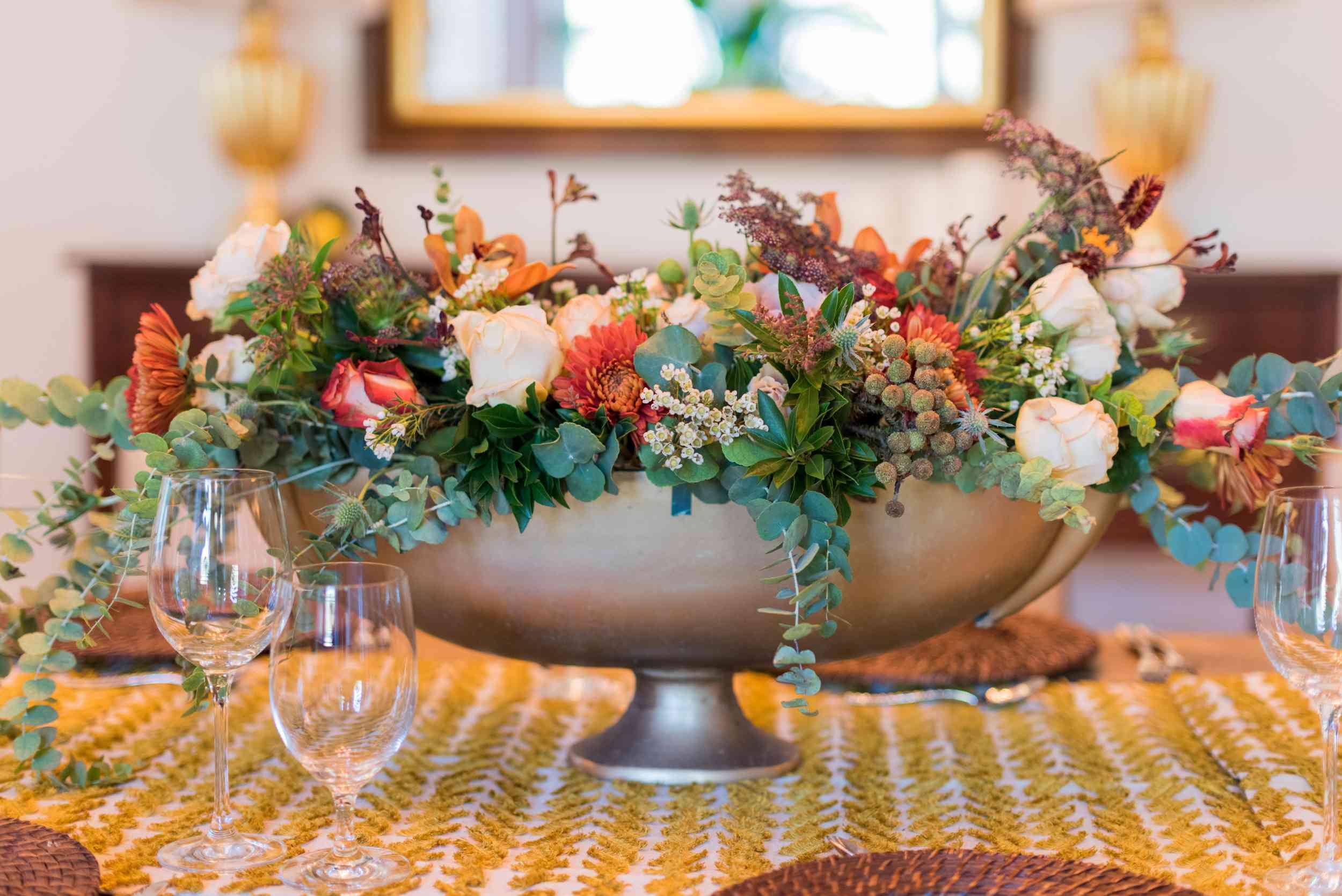 Large floral arrangement for fall tablescape