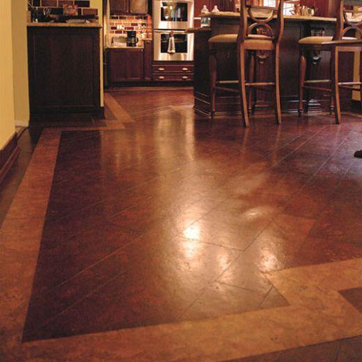 Diagonal cork kitchen flooring