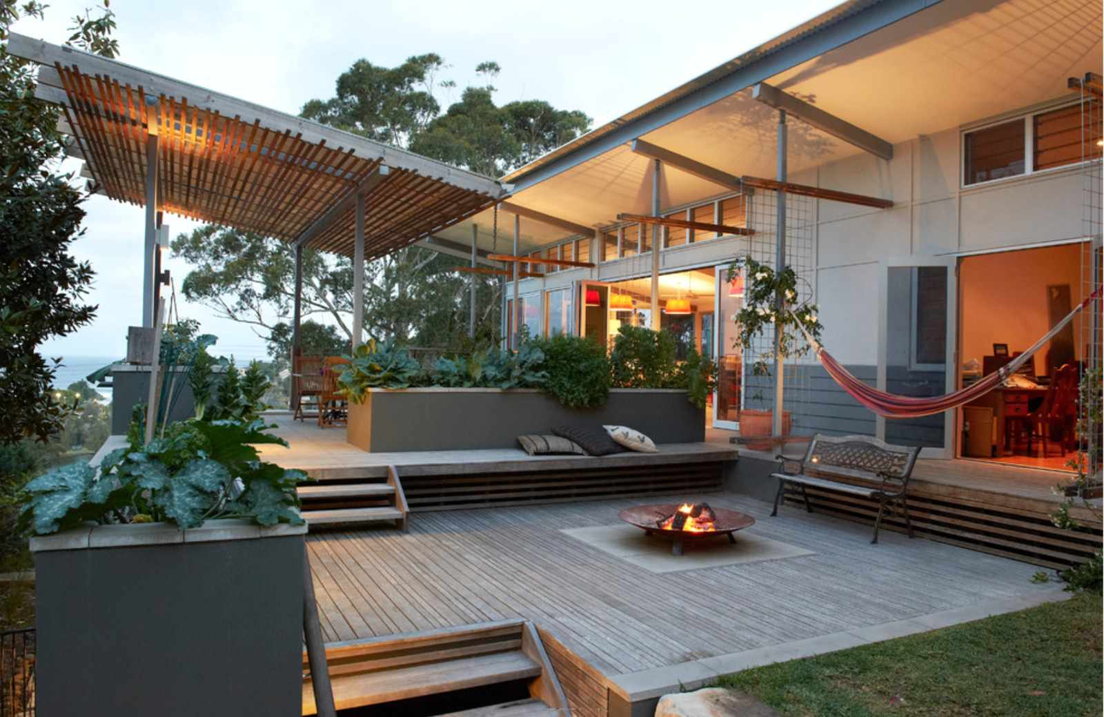 A series of covered decks in a backyard
