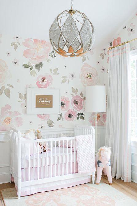 Bonito vivero floral rosa y blanco
