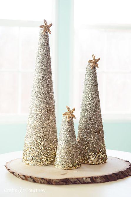 Centro de mesa de arena del árbol de Navidad