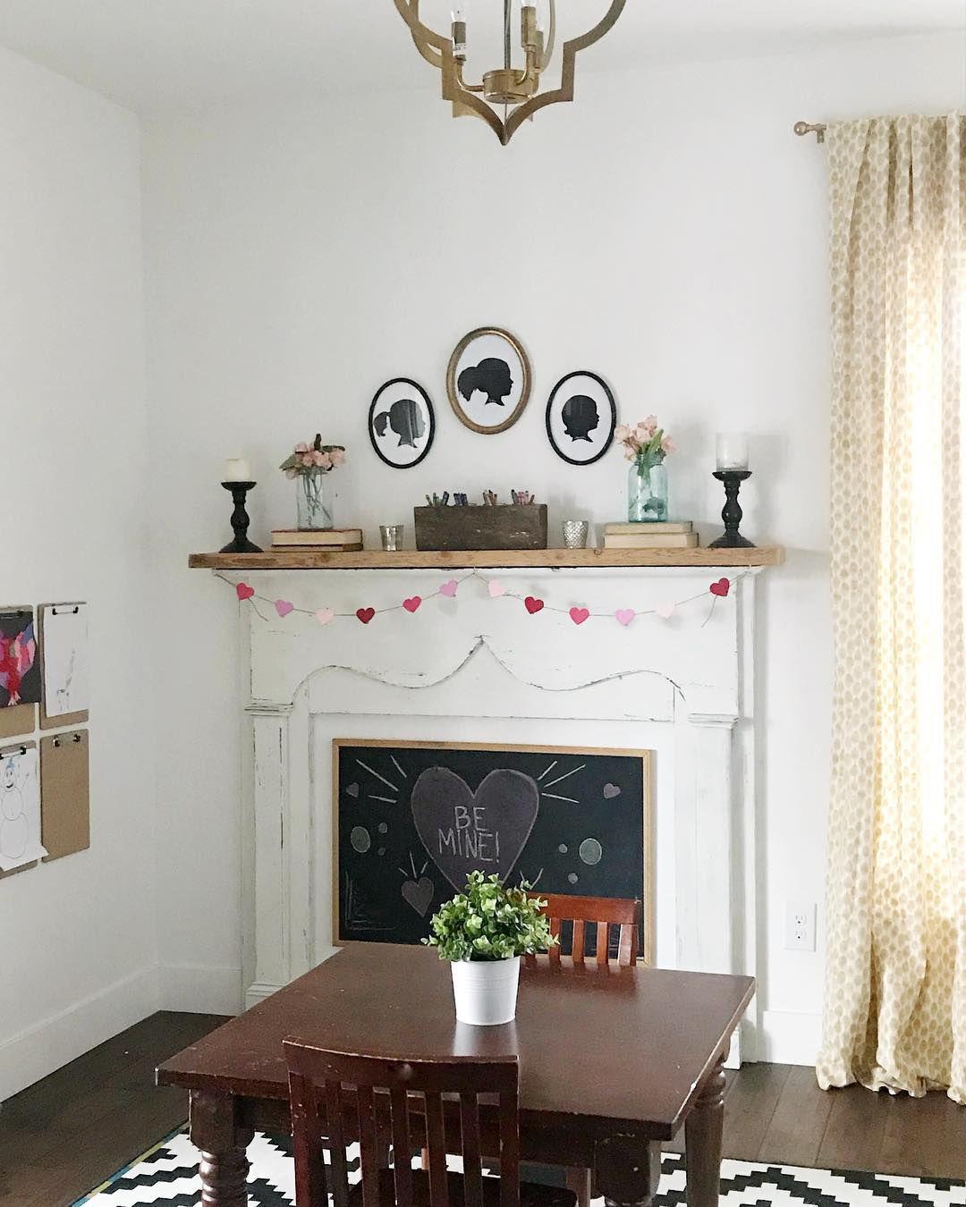 chalkboard in fireplace